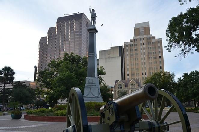 Travis Park's contested Confederate statue. - MICHAEL MARKS