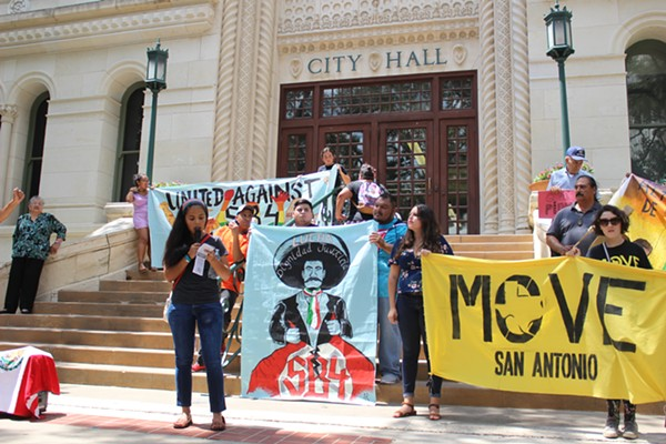 Maria Rocha, a DACA recipient living in San Antonio, spoke out against the termination of DACA during a protest on September 1, 2017. - LYANNE A. GUARECUCO