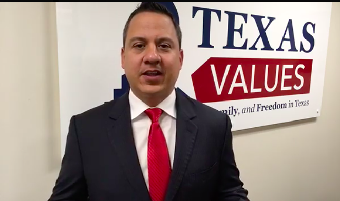 Jonathan Saenz, president of Texas Values and leader of the group protesting LGBT protections at SAISD. - FACEBOOK VIA TEXAS VALUES