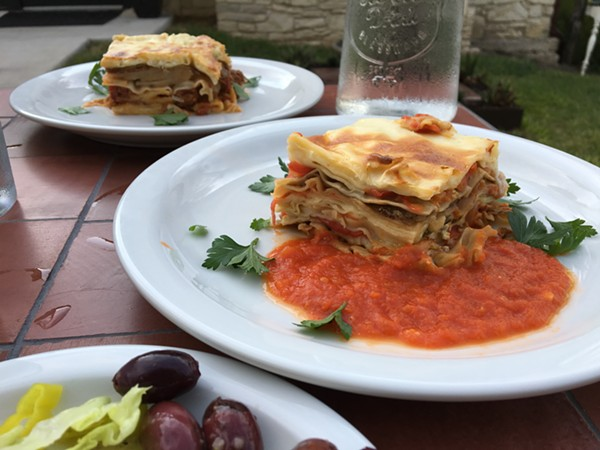 Greek pastitsio (foreground) and vegetable lasagna from Outlaw Kitchens. - JESSICA ELIZARRARAS