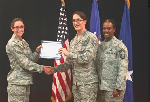 Staff Sgt. Jamie Hash at an Air Force promotion ceremony. - JAMIE HASH