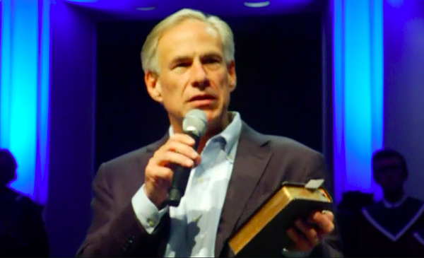 "Gov. Abbott speaking in an Austin Church during the ""National Day of Prayer."" - SCREENSHOT VIA SPECTRUM NEWS"