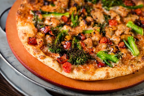 Sausage chicken, roasted pepper and broccolini pizza, - COURTESY OF ALAMO DRAFTHOUSE
