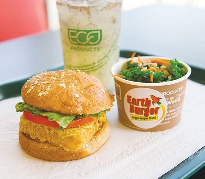 A fishless sandwich at Earth Burger - DAN PAYTON