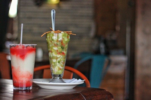 Jalapeno ceviche $5.99 and strawberry margarita $3.99 -  INSTAGRAM/@DRINKING.IN.SA