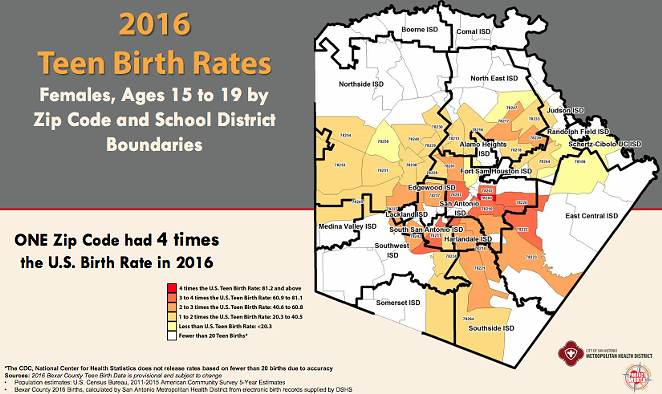 Teen Birth Rates by School District Boundaries - CITY OF SAN ANTONIO / METRO HEALTH