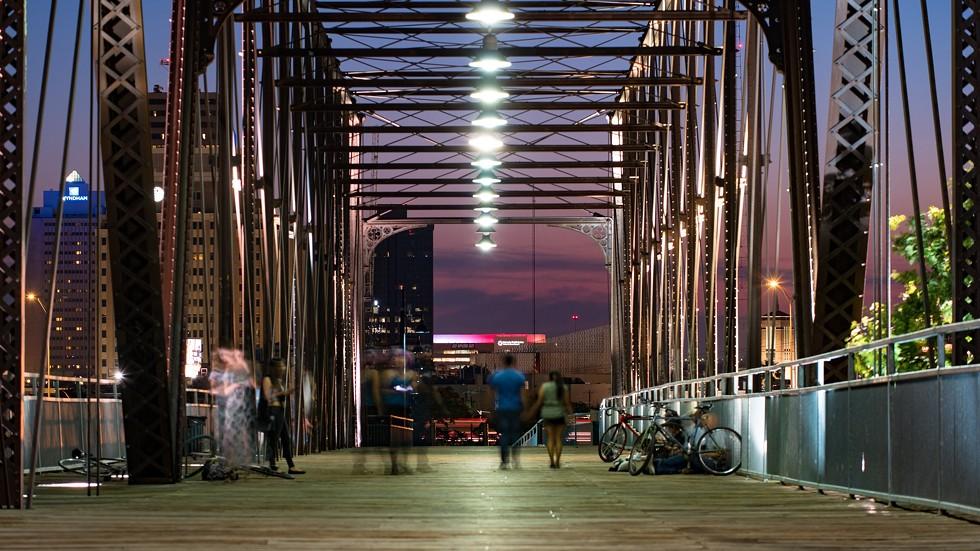 Hays Street Bridge at night. - FLICKR CREATIVE COMMONS VIA NAN PALMERO