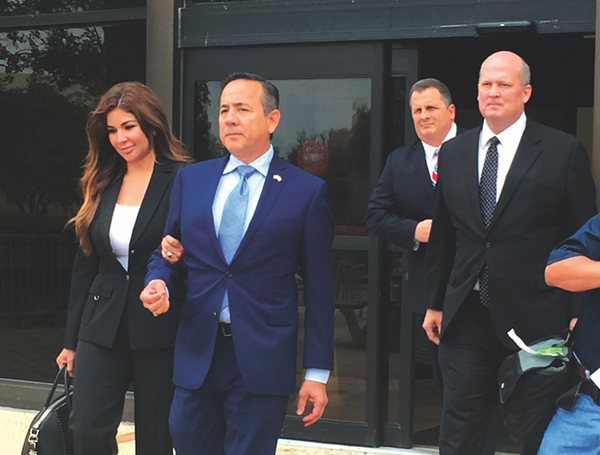 Senator Carlos Uresti walking out of the federal courthouse on May 17, 2017. - PHOTO BY ALEX ZIELINSKI