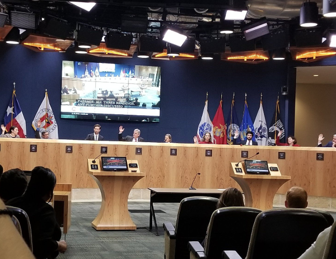 Members of Austin City Council vote Friday morning. - TWITTER VIA @GREGCASAR