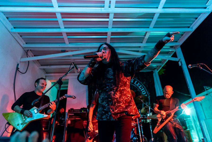 "Art Villarreal, James Rivera and Robert ""Bobdog"" Catlin (left to right) perform with the South Texas Legion supergroup at TexPop's Metal Mayhem show. - JAIME MONZON"