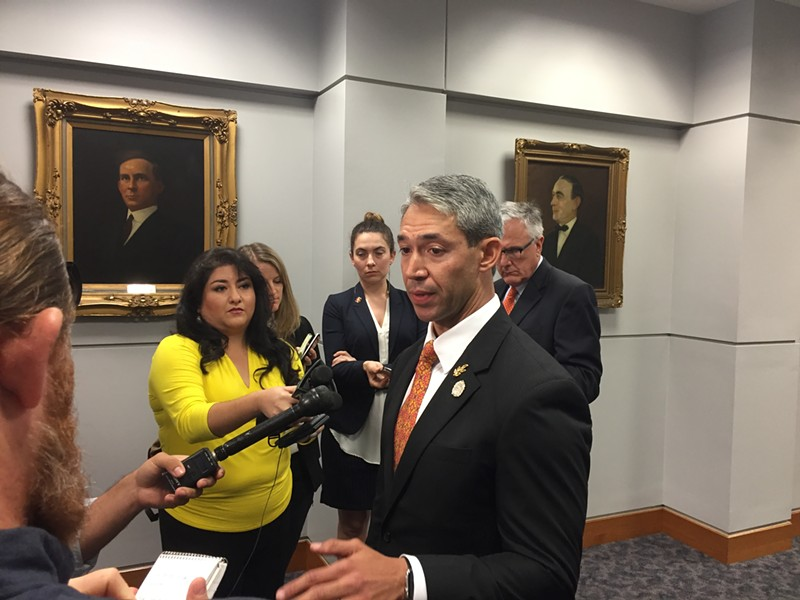 Mayor Ron Nirenberg addresses reporters after Council's meeting on the 2020 Republican National Convention. - PHOTO BY SANFORD NOWLIN