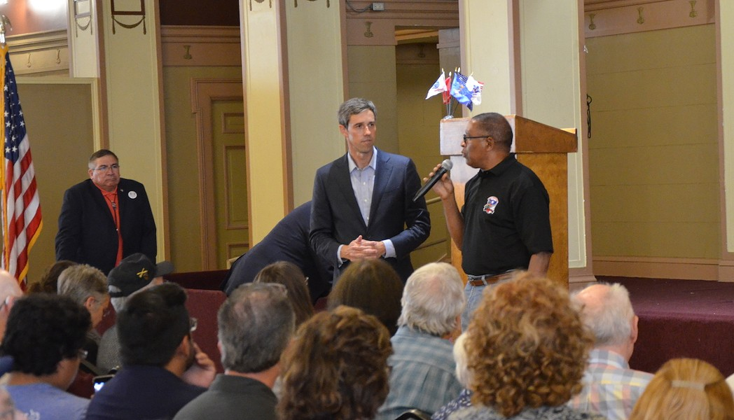 Beto at a veterans' town hall in San Antonio - BRYAN RINDFUSS