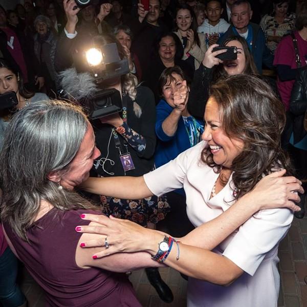 Veronica Escobar gets a hug after winning her race for the U.S. House. - VIA VERONICA ESCOBAR'S FACEBOOK