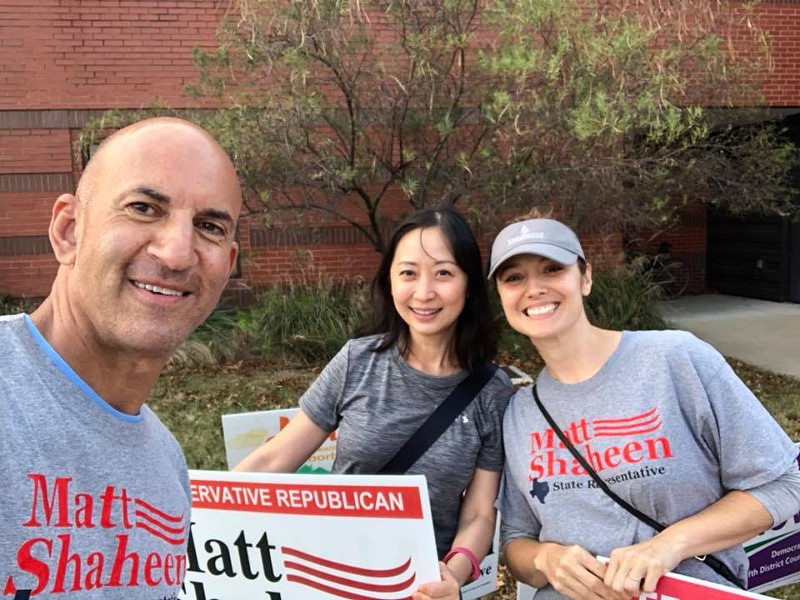 Matt Shaheen (left) snaps a selfie with supporters during a recent campaign. - VIA MATT SHAHEEN'S FACEBOOK PAGE