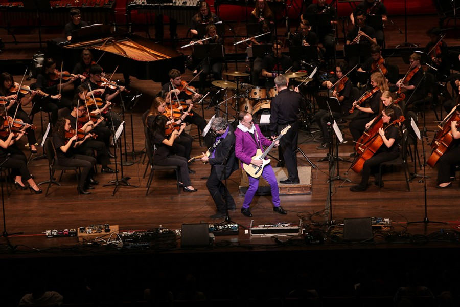 YesBodyElse performs onstage with YOSA in a Prince tribute at the Tobin Center for Performing Arts on March 13, 2017. - SCOTT BALL