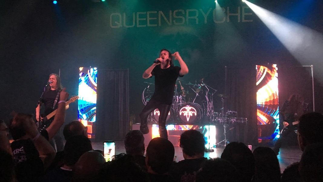 Queensryche's Todd LaTorre belts it out from the Aztec Theatre stage. - MIKE MCMAHAN