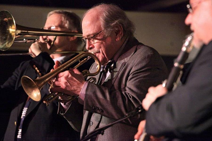 Jim Cullum playing trumpet during a gig - FACEBOOK, JIM CULLUM