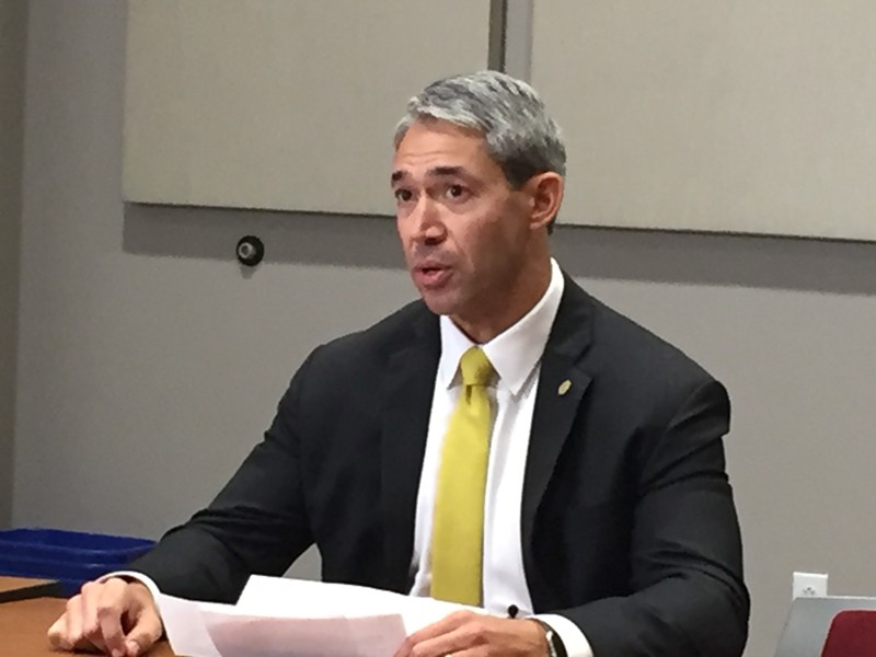 Mayor Ron Nirenberg responds to a question during a press conference Tuesday. - SANFORD NOWLIN