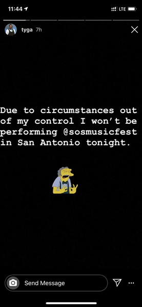 Rapper Tyga announced his withdrawal from Sound of Summer Music Fest via an Instagram post. - INSTAGRAM / @TYGA