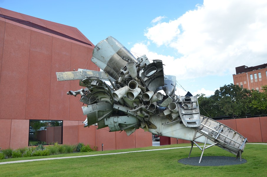 Nancy Rubins' 5,000 lbs. of Sonny's Airplane Parts, Linda's Place, and 550 lbs. of Tire-Wire dominates Ruby City's sculpture garden. - BRYAN RINDFUSS