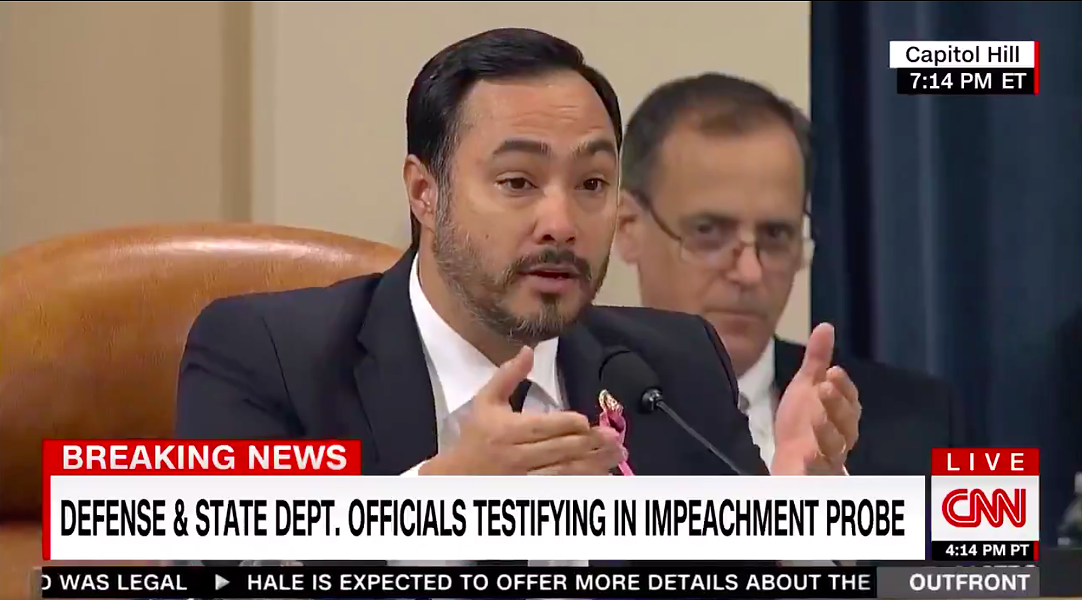 Joaquin Castro questions a witness during Wednesday's impeachment hearing. - CNN / SCREEN CAPTURE