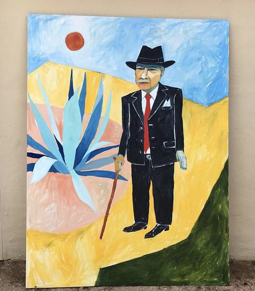 Tomás Ybarra-Frausto in an Aztlán dream, oil on canvas tarpaulin 2018, Cruz Ortiz - INSTAGRAM / CRUZORTIZART