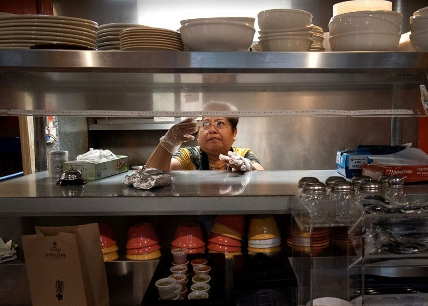 Blanca Estrada takes orders at Mama's Kitchen on Thursday. - PHOTO BY V. FINSTER   HERON CONTRIBUTOR