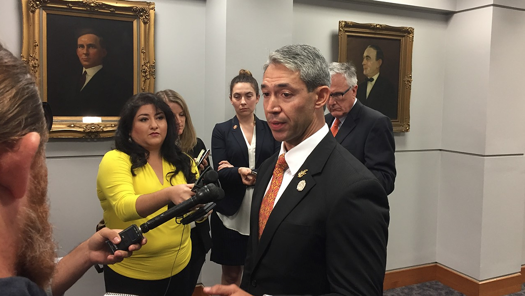 Mayor Ron Nirenberg, pictured here at a 2018 press conference, plans to ask city council to extend the current stay-at-home order through the end of the month. - SANFORD NOWLIN