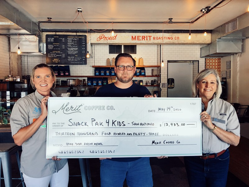 Merit Coffee presented a check for $13,483 to Snack Pac 4 Kids San Antonio. - COURTESY MERIT COFFEE