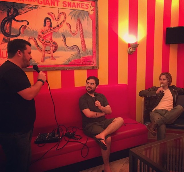 Members of the San Antonio-based CineSnob podcast record an episode. - LAURA BUSTOS