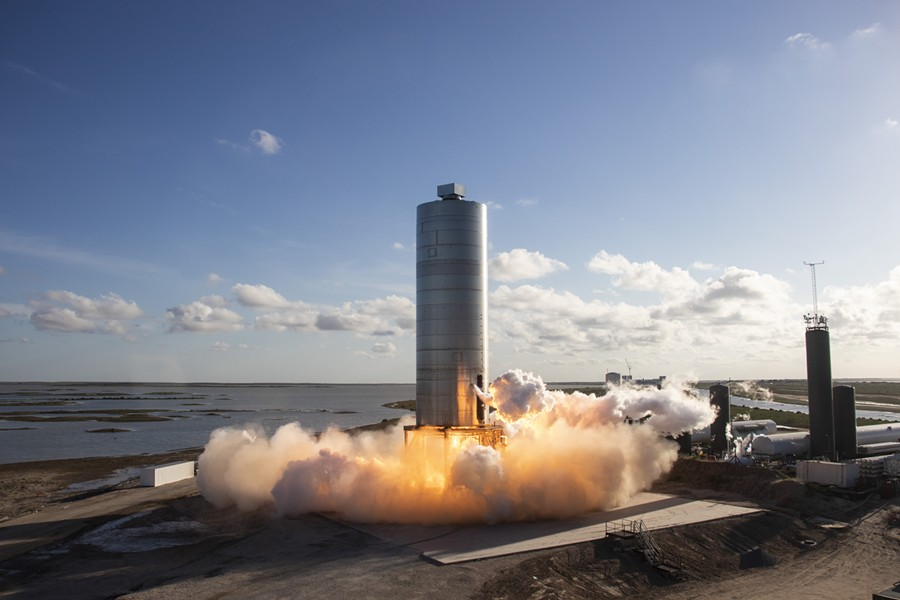 SpaceX's Starship SN5 during a flight test conducted in early August. - TWITTER / SPACEX