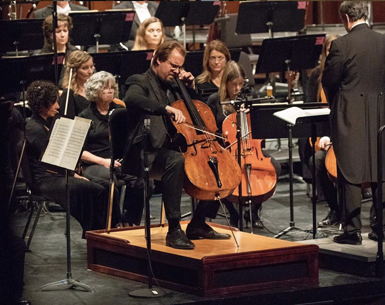 Wolfgang Emanuel Schmidt performs using a cello podium Strazza built for the Oklahoma City Philharmonic. - INSTAGRAM / STRAZZAFURNITURE