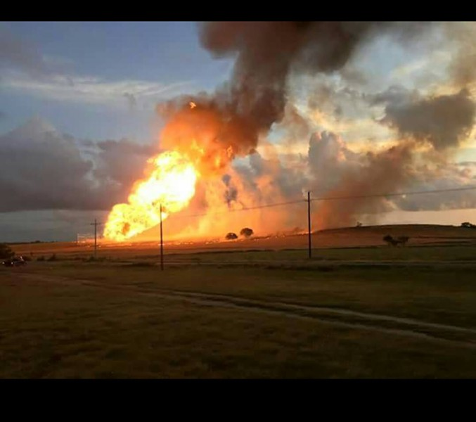 A fire from a natural gas pipeline explosion burns near Cuero. - CRYSTAL RIEMENSCHNEIDER IRVIN/FACEBOOK