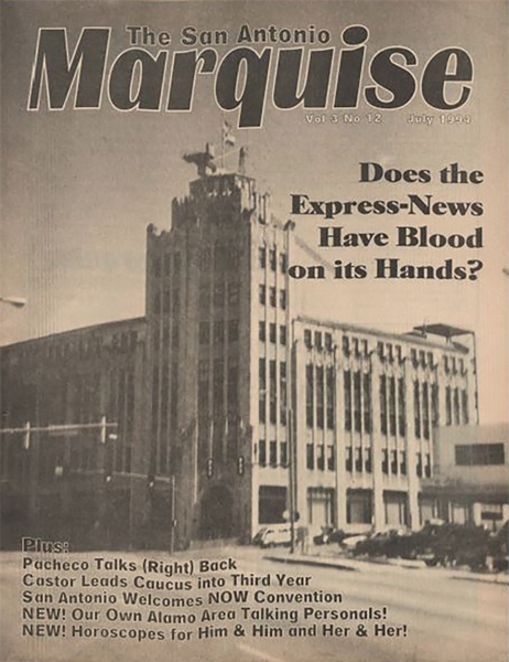 A July 1994 issue of the San Antonio Express-News covers the suicide of Benny Hogan - UTSA LIBRARY SPECIAL COLLECTIONS