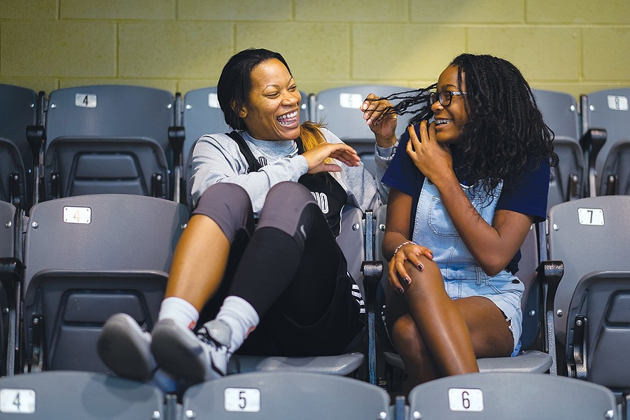 Jia Perkins, of SA's WNBA team, the Silver Stars, juggles between the pro basketball life and being a single mom to Aalirah, 11. - MARK SOBHANI