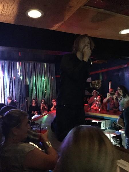 Erik Sanden on the Cobalt Club bar around 7:45 a.m. this morning