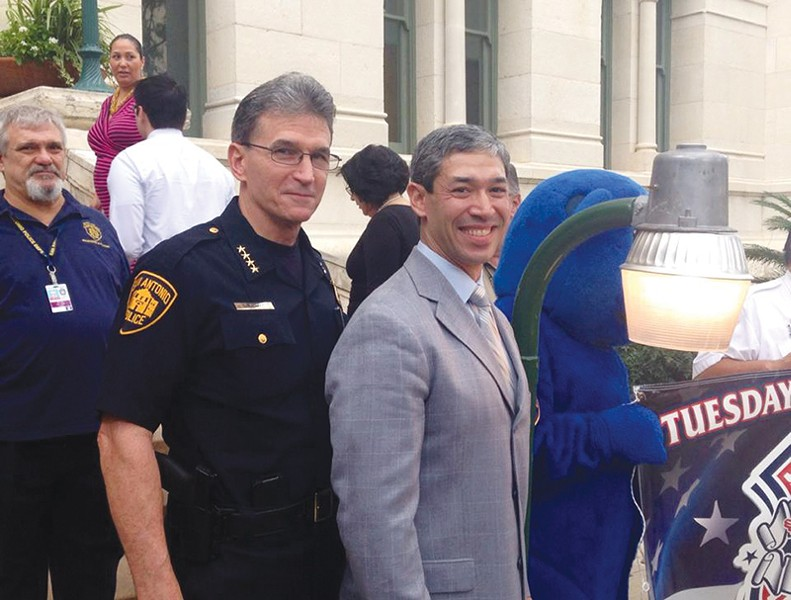 Chief William McManus with Councilman Ron Nirenberg during last October's National Night Out. - COURTESY