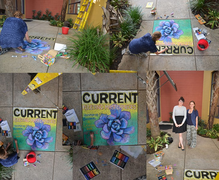 ARTIST ALI WIESSE CHALKING UP THE CURRENT'S COVER
