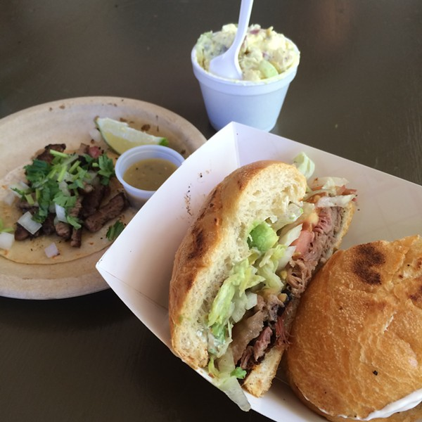 Pulled pork torta, potato salad and a brisket street taco. - JESSICA ELIZARRARAS