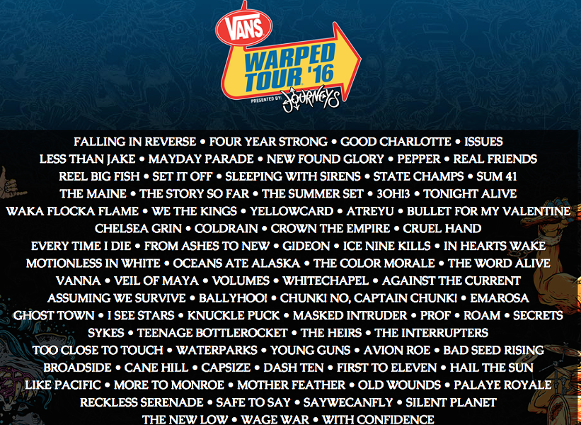 The full 2016 lineup - VANSWARPEDTOUR.COM