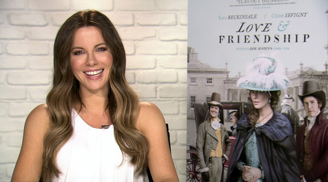 Actress Kate Beckinsale laughing during a satellite interview with the San Antonio Current last week. - COURTESY