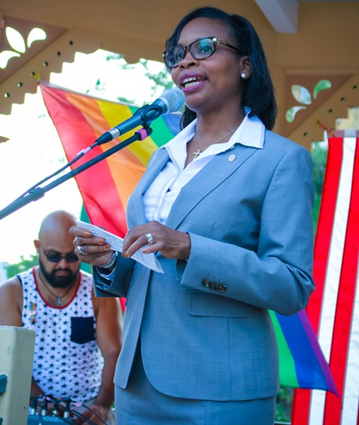 Mayor Ivy Taylor spoke at a vigil in Crockett Park Thursday night honoring the victims of the Orlando shooting. - JULIÁN P. LEDEZMA