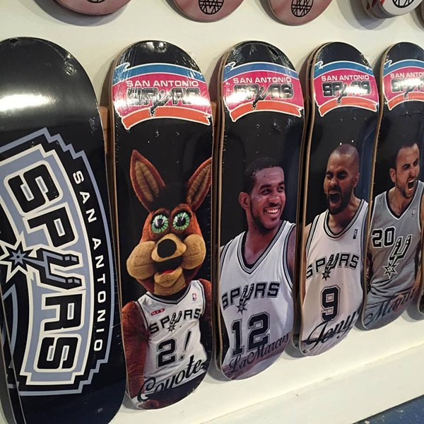 Five of Alta Vista Skateshop's San Antonio Spurs decks