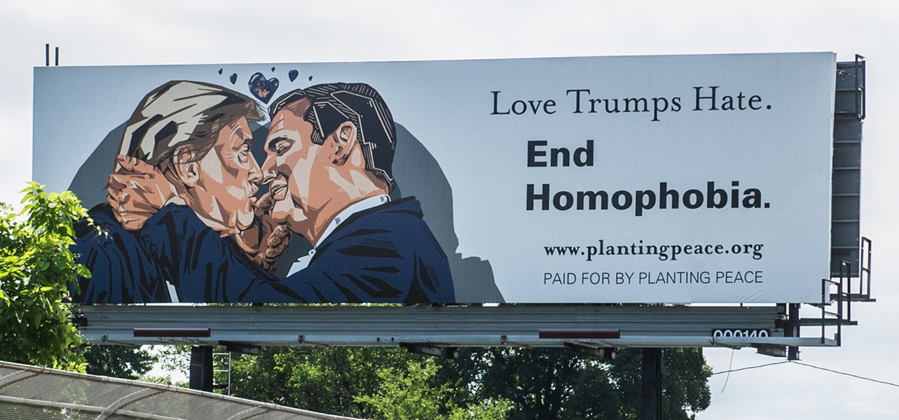 The nonprofit Planting Peace designed this billboard to welcome people to the Republican National Convention in Cleveland. - PLANTING PEACE