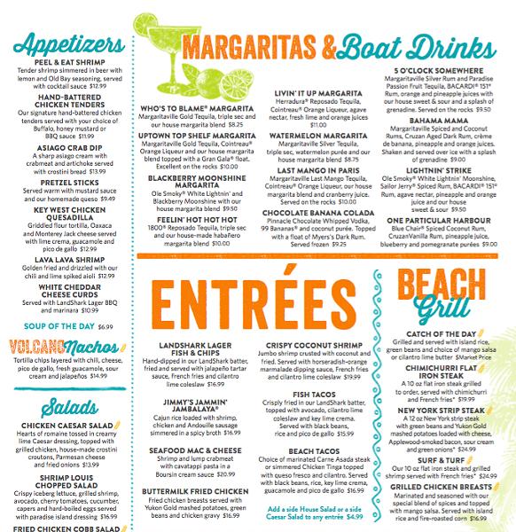 A peek at the menu - COURTESY OF MARGARITAVILLE