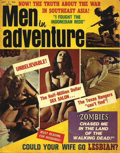 The May 1971 issue of Men in Adventure claimed the Chicken Ranch was a place where customers were regularly drugged and robbed (author collection).