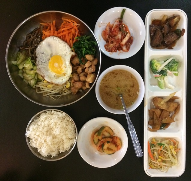The Bibimbap with banchan, rice, and miso soup ($8.99)