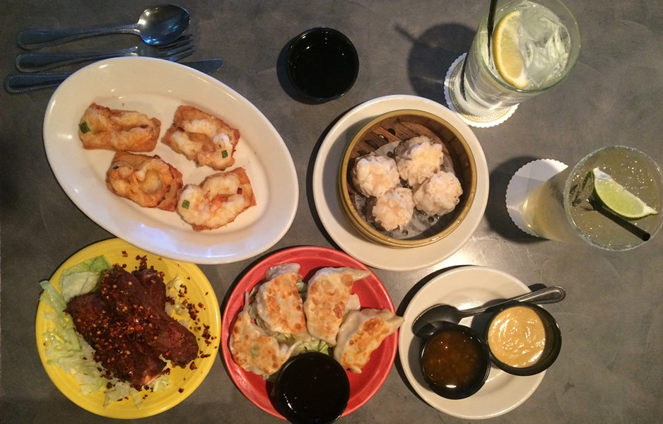Clockwise from top left: Shrimp Toast, Shrimp Sui Mai, Ginger Chicken Pot Stickers, Spiced Ribs