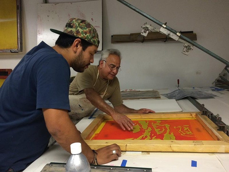 Harvey Mireles and artist Albert Gonzales - VIA FACEBOOK,  LA PRINTERIA