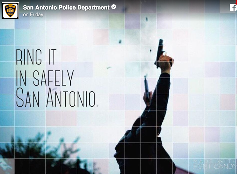 "The San Antonio Police Department felt it necessary to remind NYE revelers that ""celebratory gunfire"" is not OK... - SAPD"
